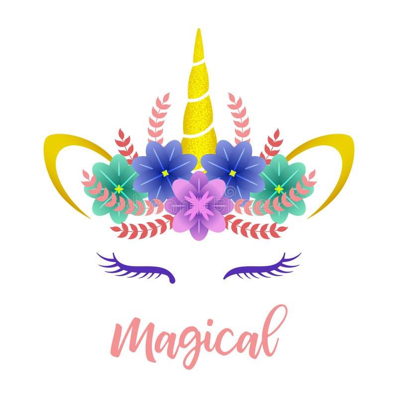 Ejemplo lindo del vector del unicornio Tarjeta de imagen de fondo, diseño de la camisa stock de ilustración