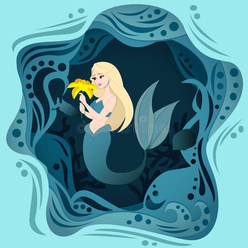 Ejemplo lindo del verano con la sirena y mar con el efecto 3D Sirena del verano y cartel del mar Ilustraci?n del vector stock de ilustración