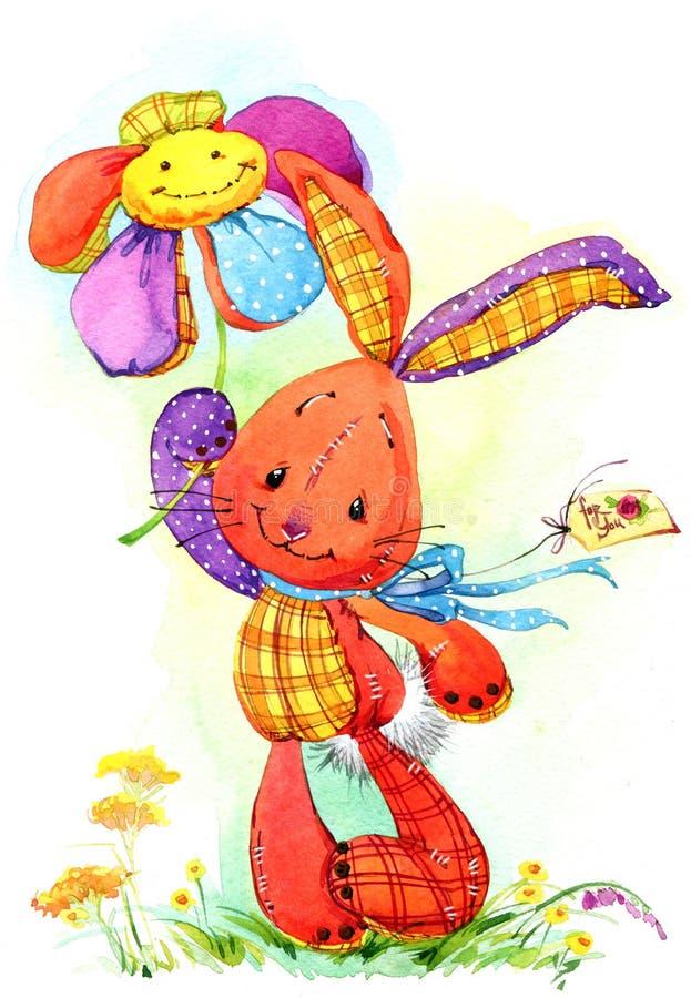 Ejemplo lindo del watercoloe del drenaje de la mano del juguete del conejito ilustración del vector