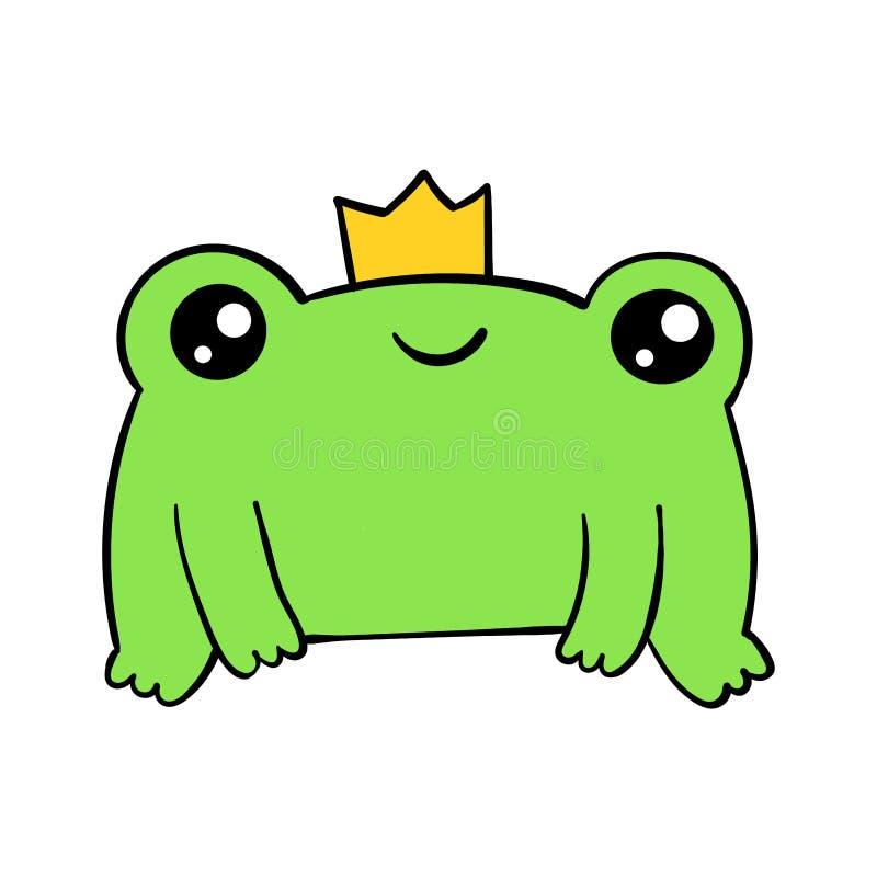 Ejemplo lindo, plano del príncipe de la rana Doodle dibujado mano Rana con una corona amarilla ilustración del vector
