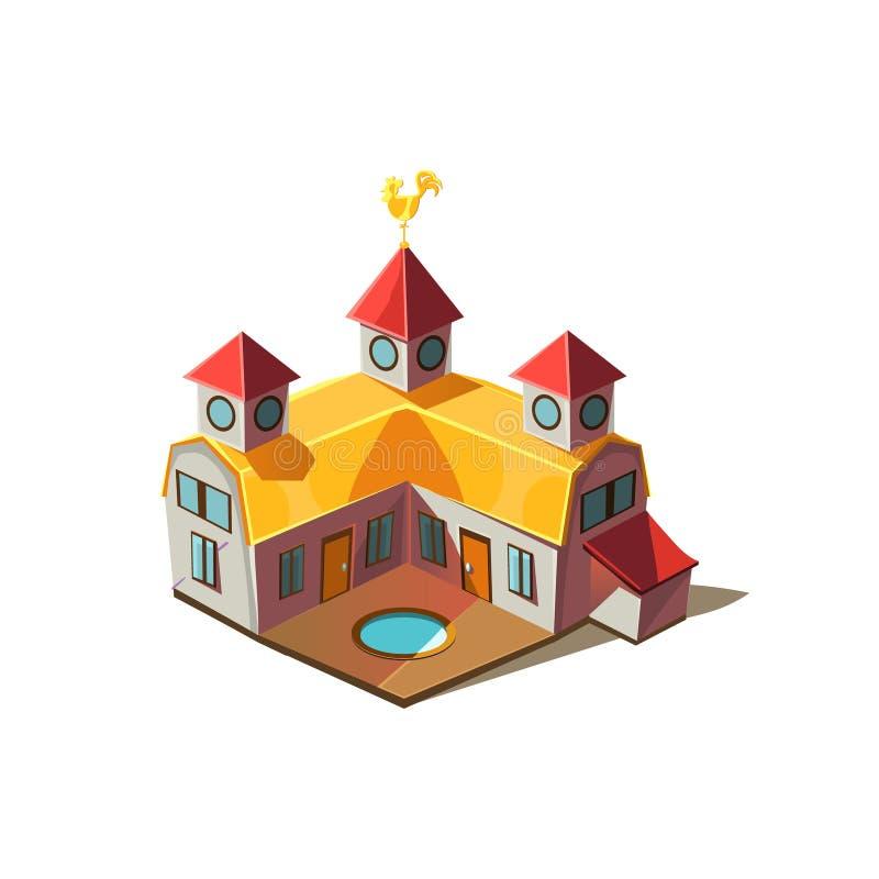 Ejemplo lindo simplificado casa de Rancho ilustración del vector