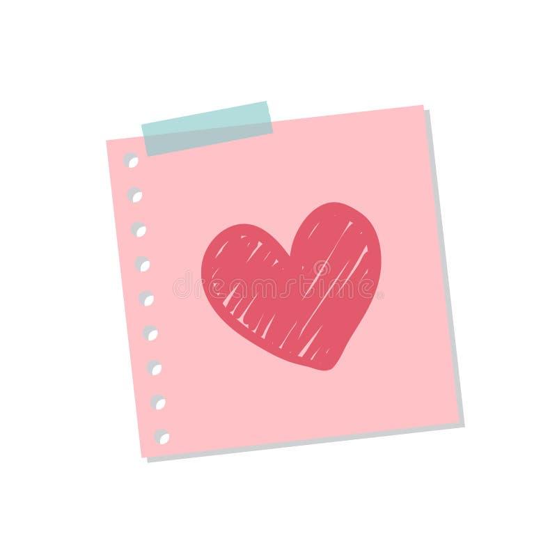Ejemplo lindo y dulce de la nota del amor stock de ilustración