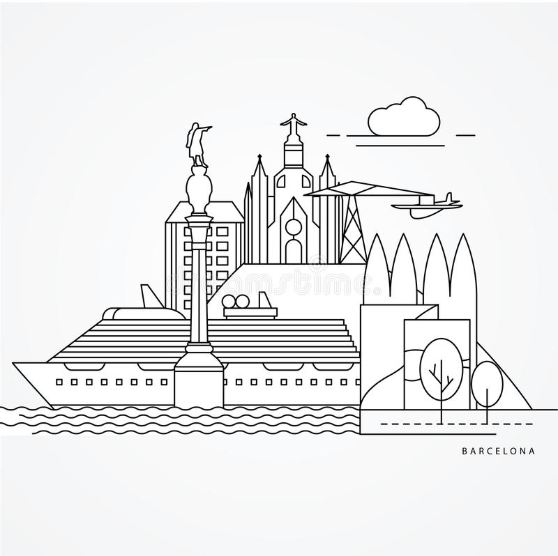 Ejemplo linear de Barcelona, España Una línea estilo plana stock de ilustración