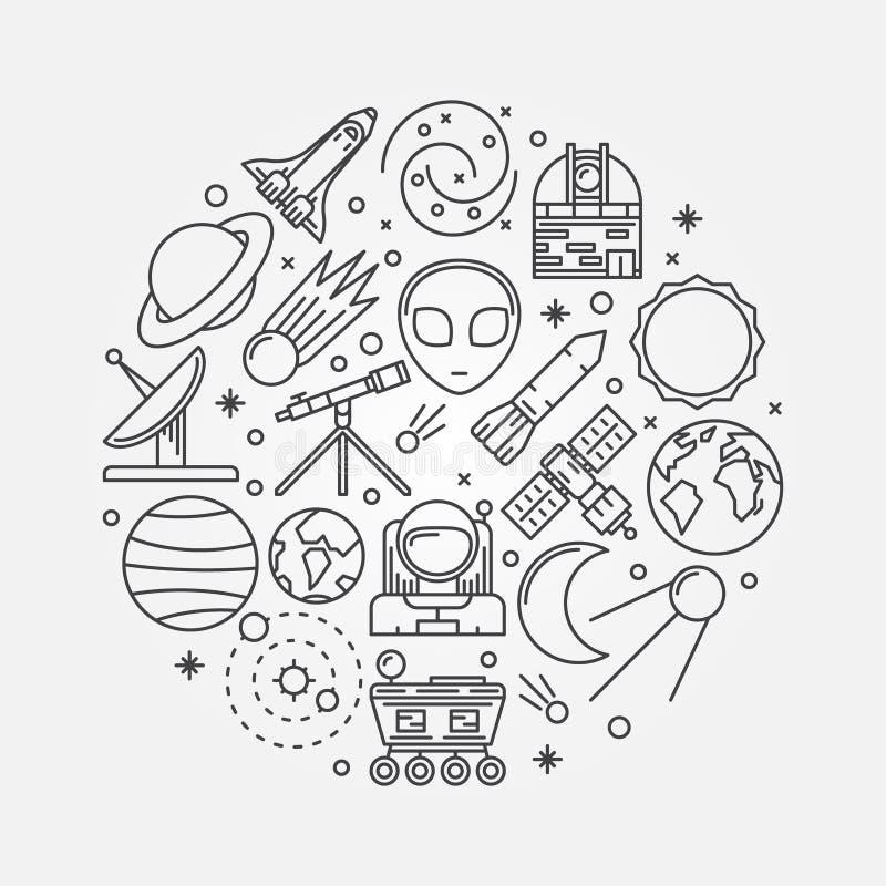 Ejemplo linear de la astronomía ilustración del vector
