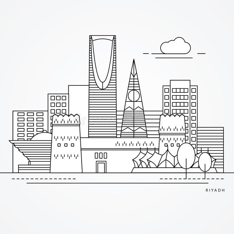 Ejemplo linear de Riad, la Arabia Saudita Una línea estilo plana Ejemplo de moda del vector ilustración del vector