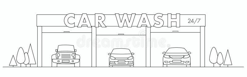 Ejemplo linear del túnel de lavado con los coches y el letrero ilustración del vector