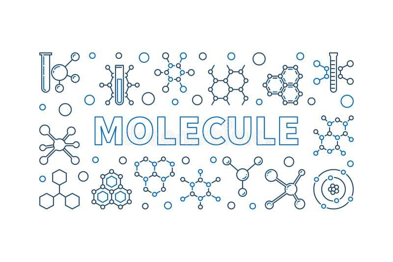 Ejemplo linear del vector de la molécula - bandera del concepto de la química libre illustration