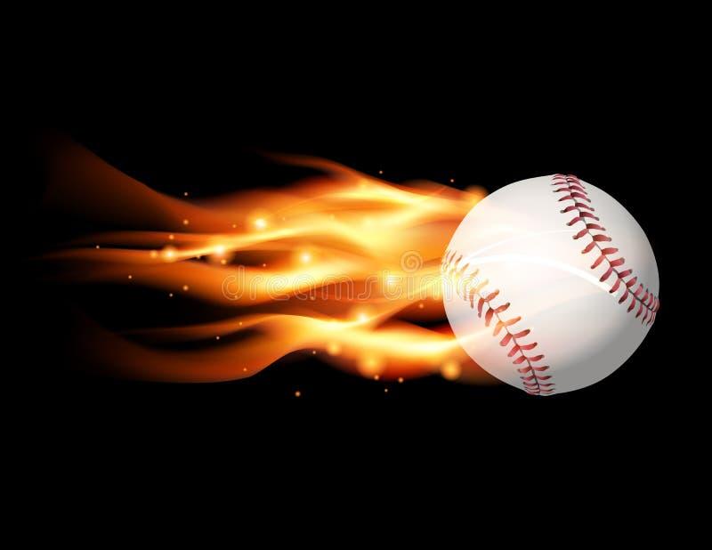 Ejemplo llameante del béisbol ilustración del vector