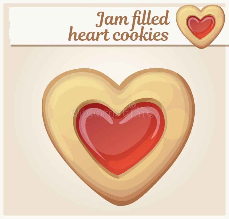 Ejemplo llenado atasco de las galletas del corazón Engrana el icono stock de ilustración