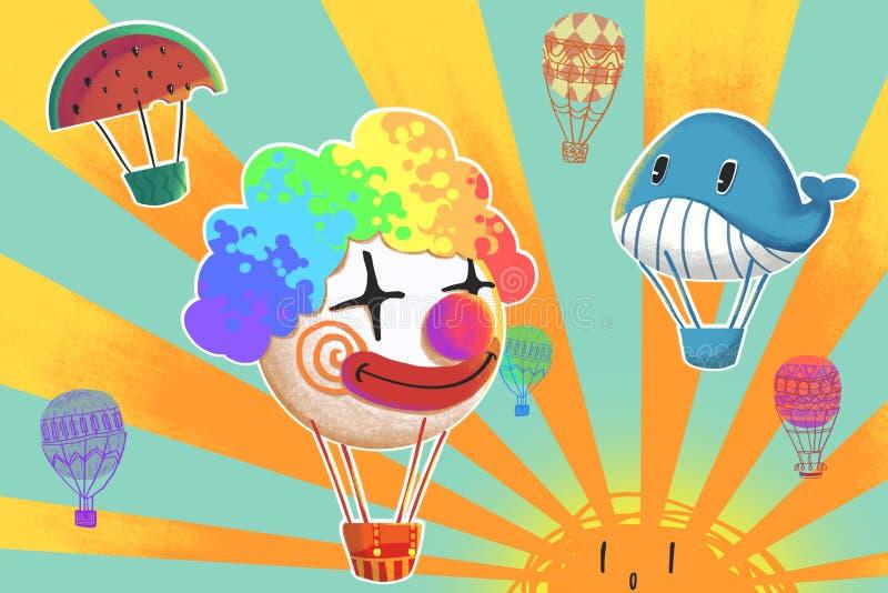 Ejemplo: Los globos divertidos del aire caliente están volando en la luz del sol Payaso, ballena, sandía etc ilustración del vector