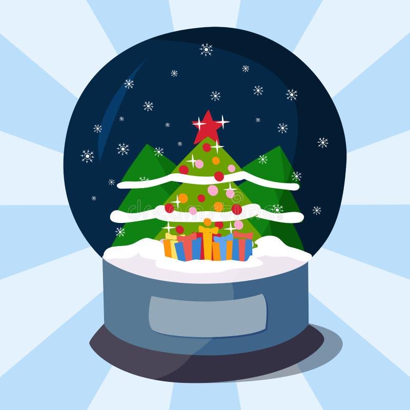 Ejemplo mágico del vector de la bola de la Navidad del clobe de la nieve del diseño de la celebración realista transparente mágic stock de ilustración