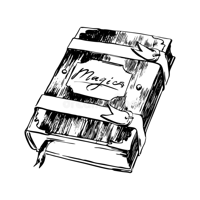 Ejemplo mágico exhausto del bosquejo del libro de la mano Dibujo de la tinta del negro del vector aislado en el fondo blanco Esti stock de ilustración