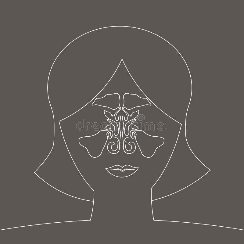 Ejemplo médico del sino maxilar de la silueta enfermedad de la sinusitis, ejemplo de la nariz del vector, anatomía del sino, resp libre illustration