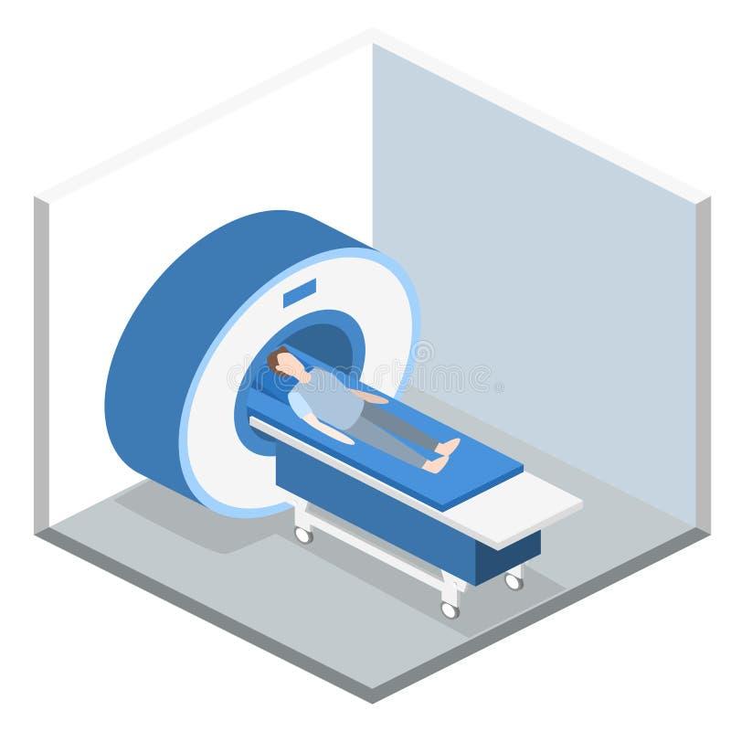 Ejemplo médico del web del mri del hospital plano isométrico del concepto 3D stock de ilustración