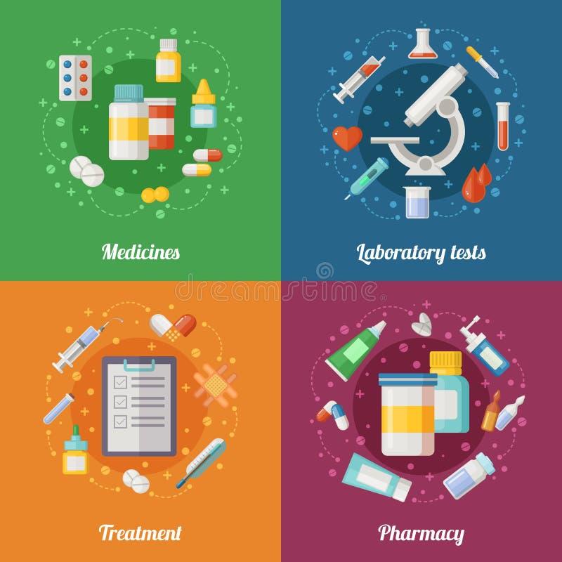 Ejemplo médico fijado con los elementos farmacéuticos Píldoras y drogas Doctor o laboratorio clínico Vector de la atención sanita libre illustration