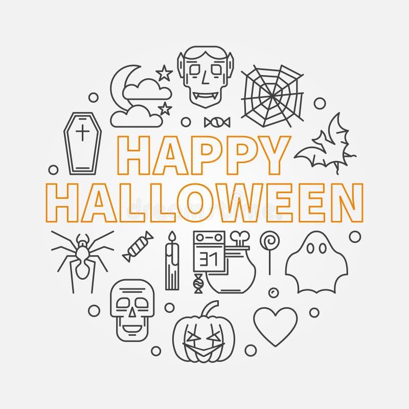 Ejemplo mínimo del esquema redondo del vector del feliz Halloween libre illustration