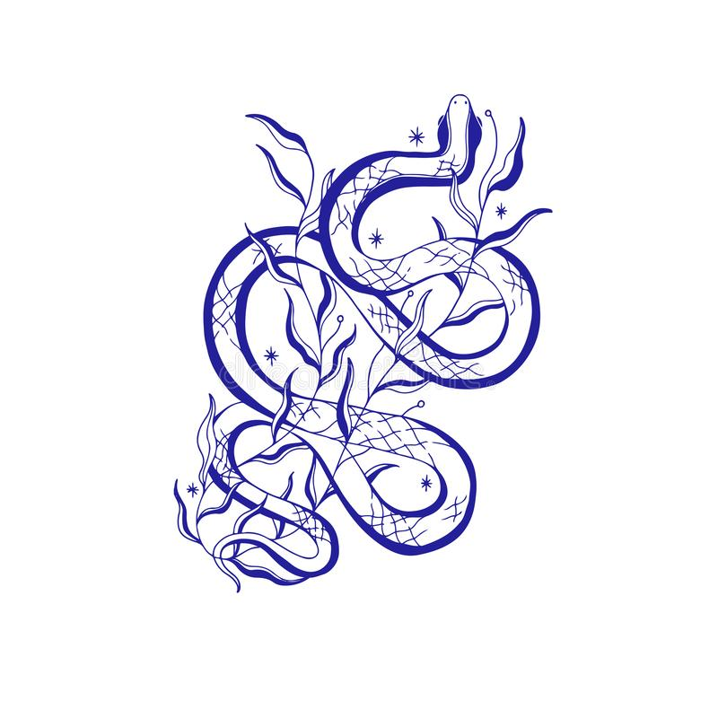 Ejemplo místico de la serpiente, muestra esotérica, vida mágica Viejo estilo del vintage, l?nea gr?fica Aislado en el fondo blanc ilustración del vector