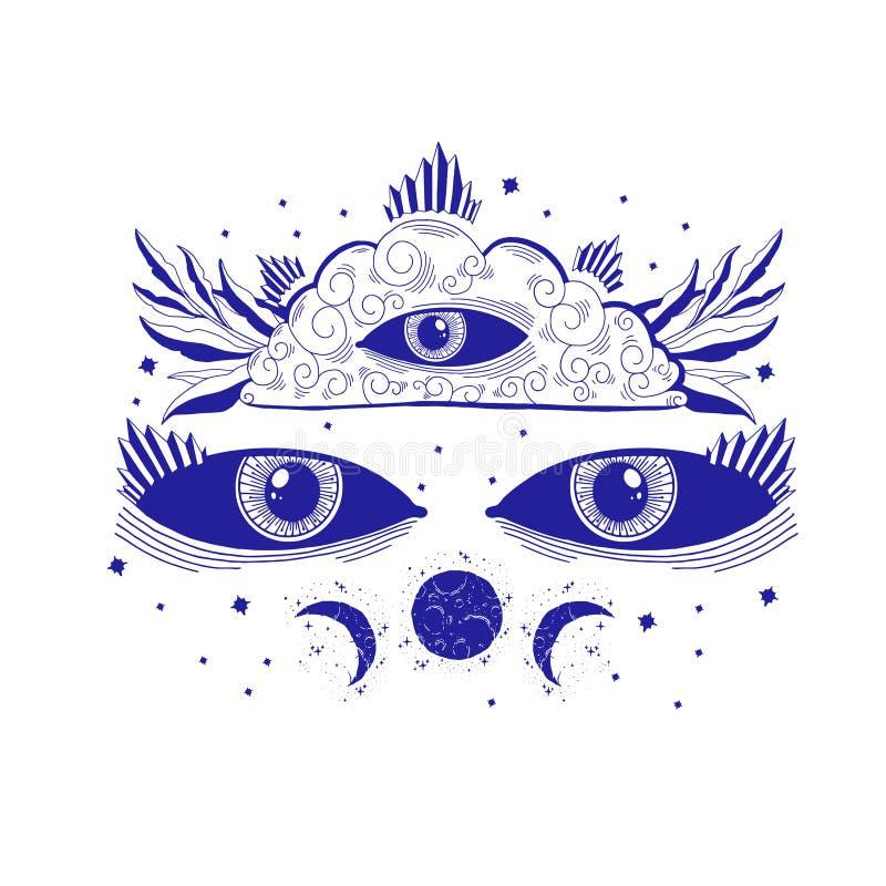 Ejemplo místico del tercer ojo de la vista, muestra esotérica, vida mágica Viejo estilo del vintage, l?nea gr?fica Aislado en el  libre illustration