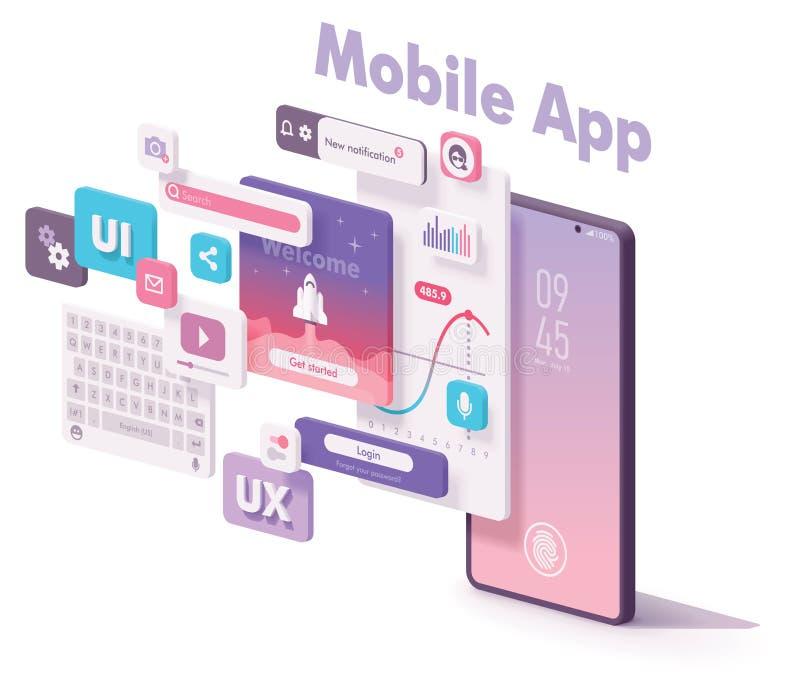 Ejemplo móvil de la creación del app del vector stock de ilustración