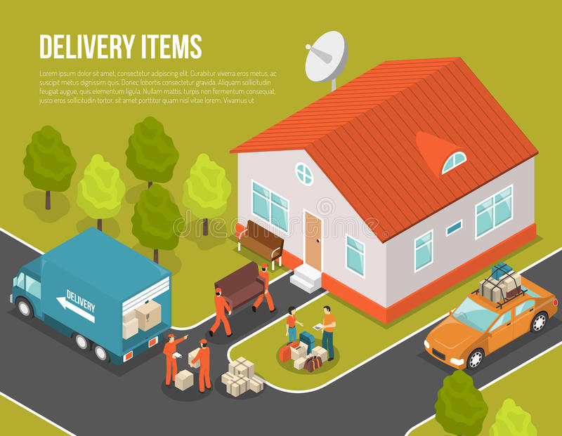 Ejemplo móvil del colono de la entrega nuevo stock de ilustración