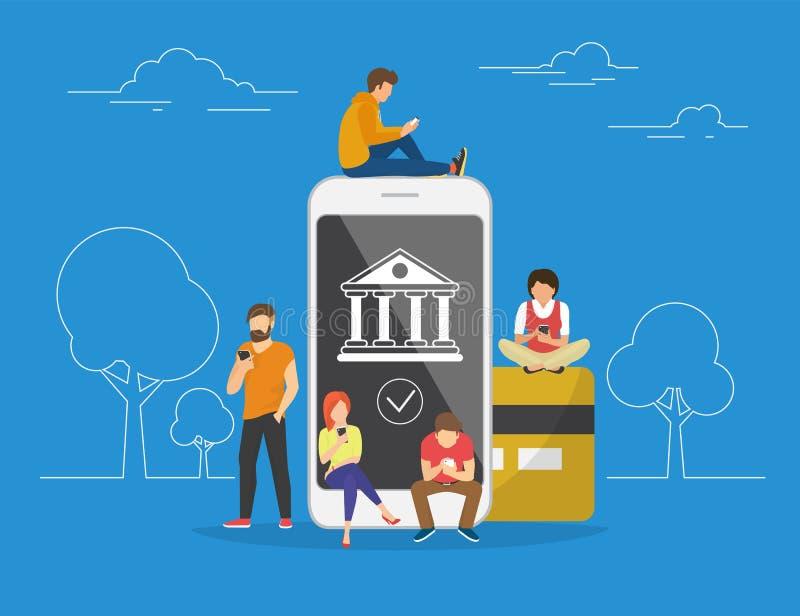 Ejemplo móvil del concepto de las actividades bancarias ilustración del vector