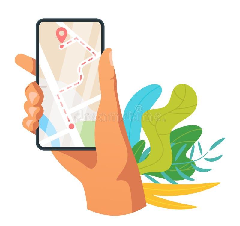 Ejemplo móvil del vector del app de la navegación stock de ilustración