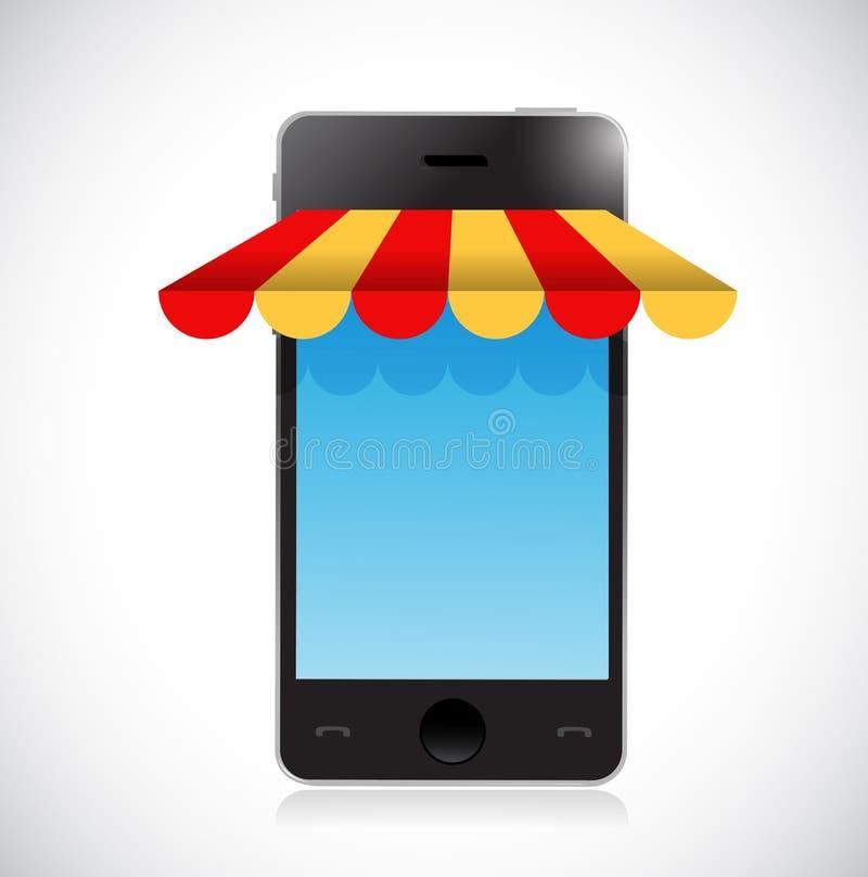ejemplo móvil en línea de la tienda de la tienda de las compras ilustración del vector