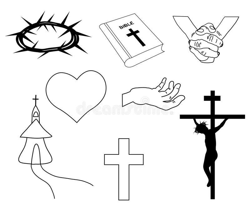 Ejemplo a mano cristiano de los símbolos stock de ilustración