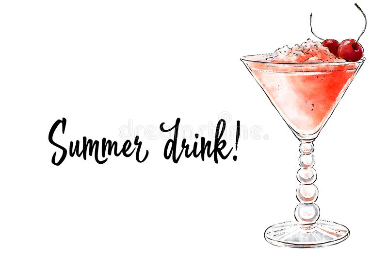 Ejemplo a mano de Colorfu del smoothie delicioso de la fruta fresca Cóctel fresco del verano con las cerezas y el hielo machacado ilustración del vector