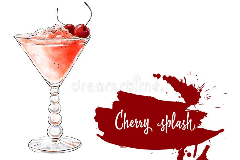 Ejemplo a mano de Colorfu del smoothie delicioso de la fruta fresca Cóctel fresco del verano con las cerezas y el hielo machacado libre illustration