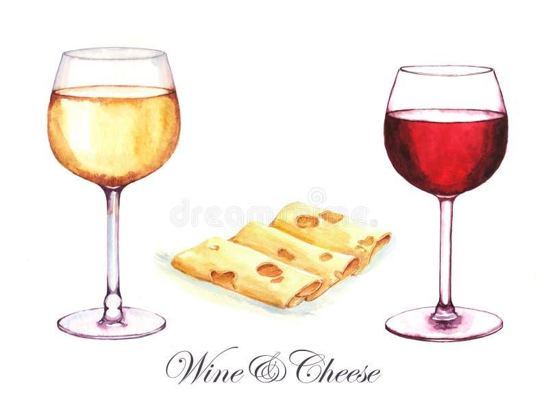 Ejemplo a mano de la acuarela de dos bebidas del alcohol en los vidrios imagen de archivo