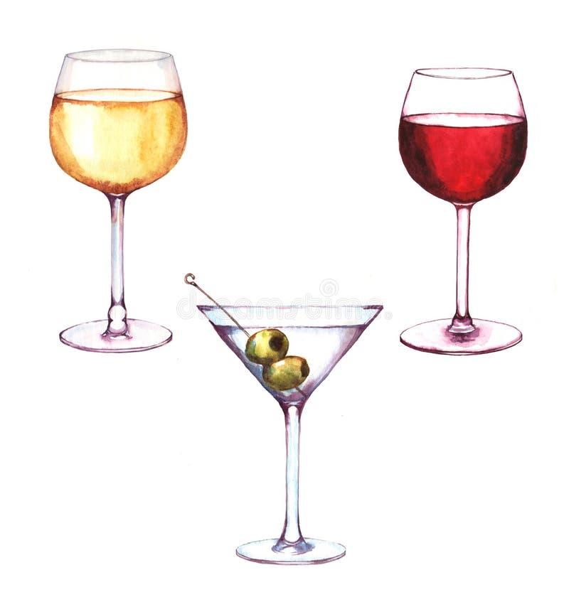 Ejemplo a mano de la acuarela de las tres bebidas del alcohol en los vidrios imágenes de archivo libres de regalías