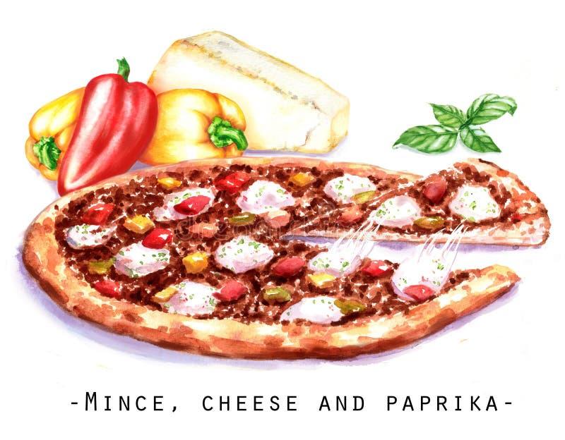 Ejemplo a mano de la acuarela de la pizza con el relleno, el queso y pimientas de la carne fotografía de archivo libre de regalías