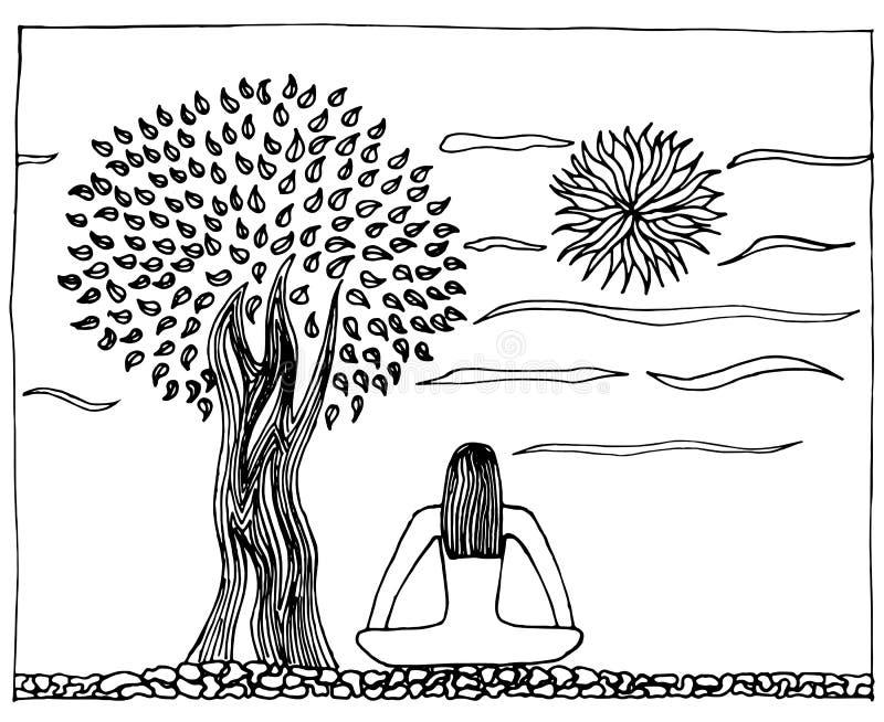 Ejemplo a mano de la yoga, vida, armonía Árbol y sol en la meditación pacífica libre illustration