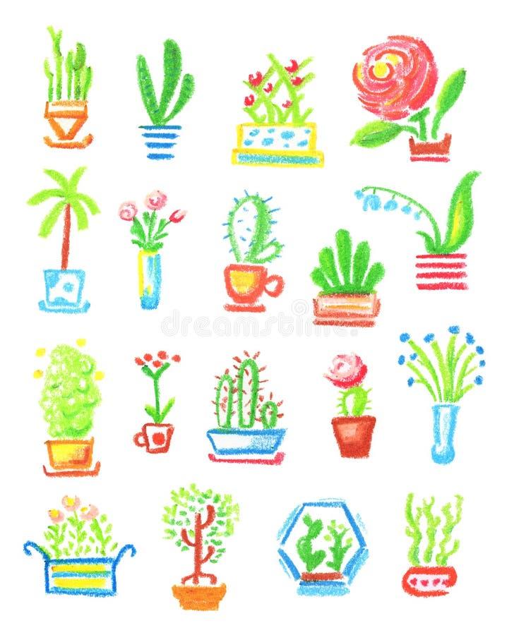Ejemplo a mano de las flores en conserva en el fondo blanco El hogar florece el dibujo en colores pastel del aceite libre illustration