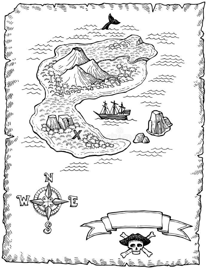 Ejemplo a mano del mapa del tesoro ilustración del vector