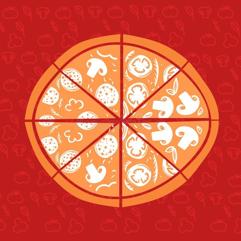 ejemplo a mano del vector Pizza en fondo rojo stock de ilustración
