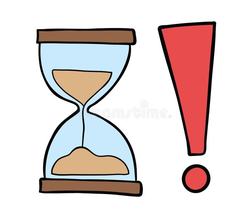 Ejemplo a mano del vector del reloj de la arena con la marca de exclamación libre illustration