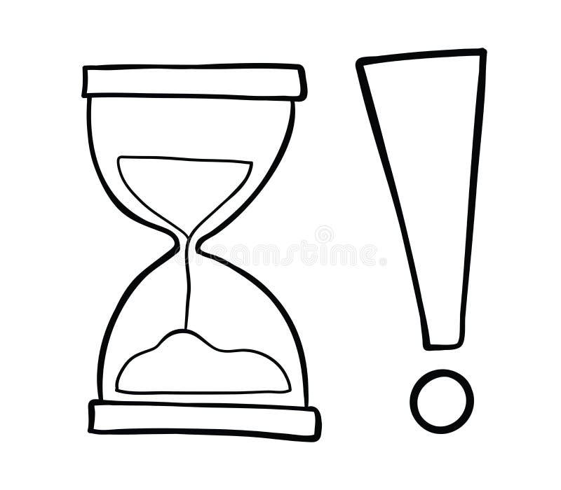 Ejemplo a mano del vector del reloj de la arena con la marca de exclamación stock de ilustración