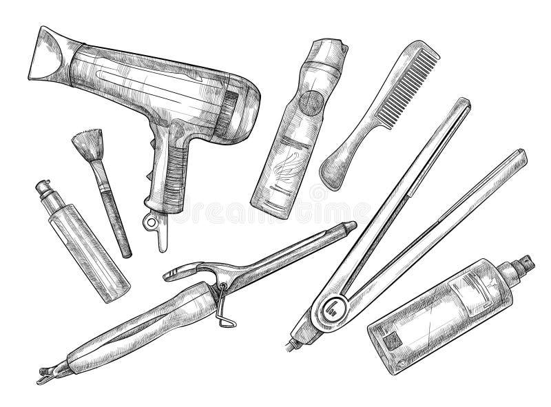 Ejemplo a mano del vector - sistema de herramientas del peluquero ilustración del vector