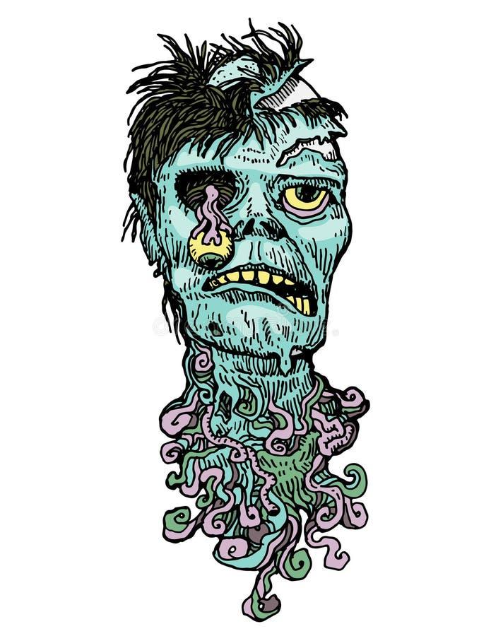 Ejemplo a mano del zombi ilustración del vector
