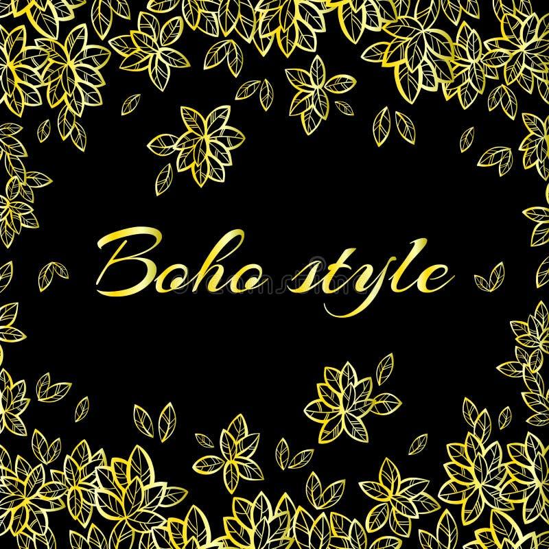 Ejemplo a mano hermoso del estilo del boho Marco de las hojas del árbol de Bodhi en oro Arte del vector del vintage Adornos relig libre illustration