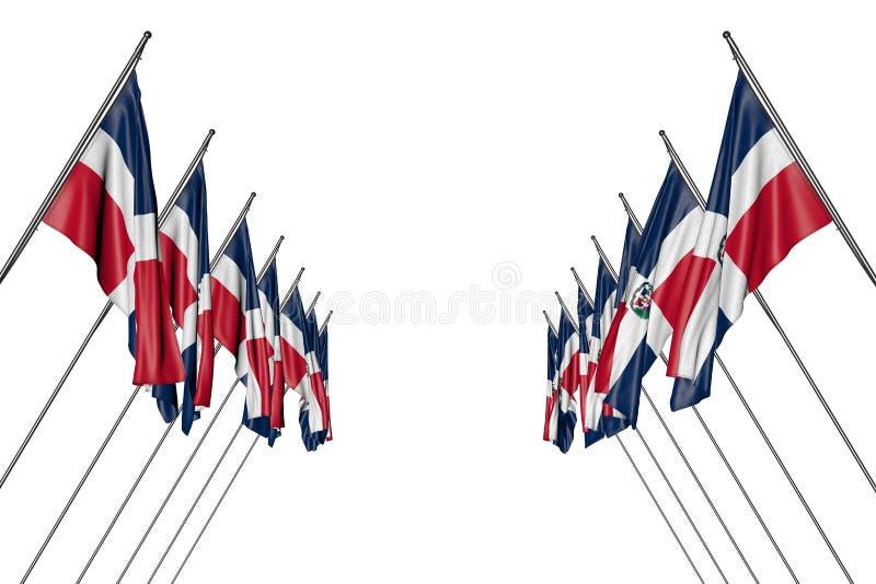 Ejemplo maravilloso de la bandera 3d del día del himno - muchas banderas de la República Dominicana cuelgan encendido en los polo ilustración del vector