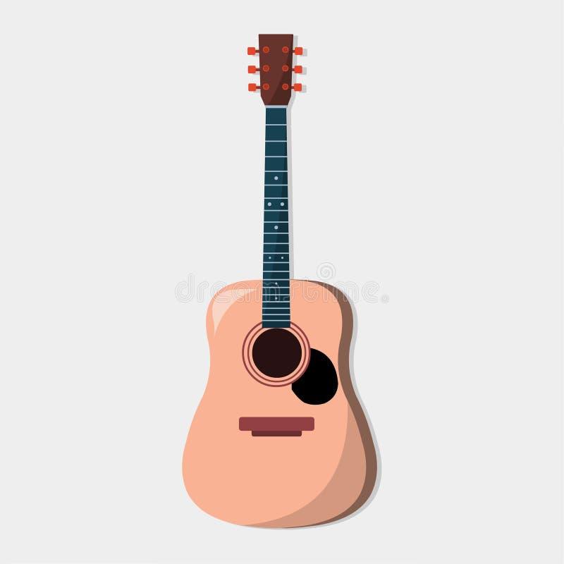 Ejemplo marrón acústico del vector de la guitarra ilustración del vector