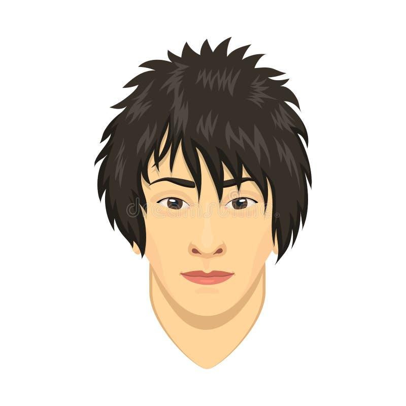 Ejemplo masculino del vector de la persona de la historieta del retrato de la cara del hombre del carácter asiático joven del ava ilustración del vector