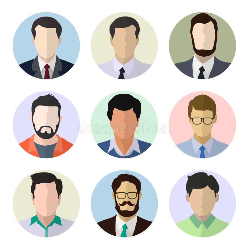 Ejemplo masculino del vector de los rostros humanos del avatar ilustración del vector