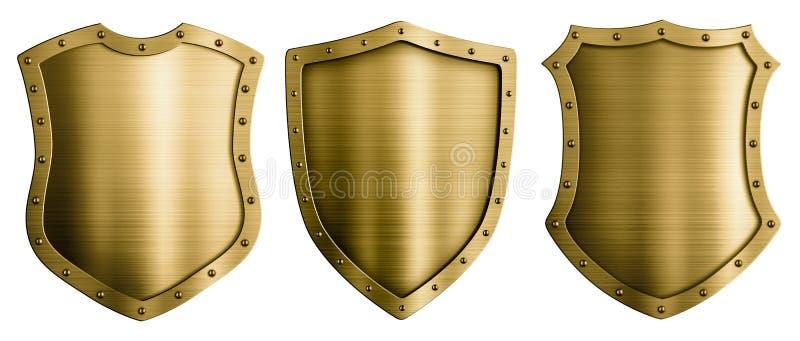 Ejemplo medieval de los escudos 3d del metal del oro o del bronce stock de ilustración