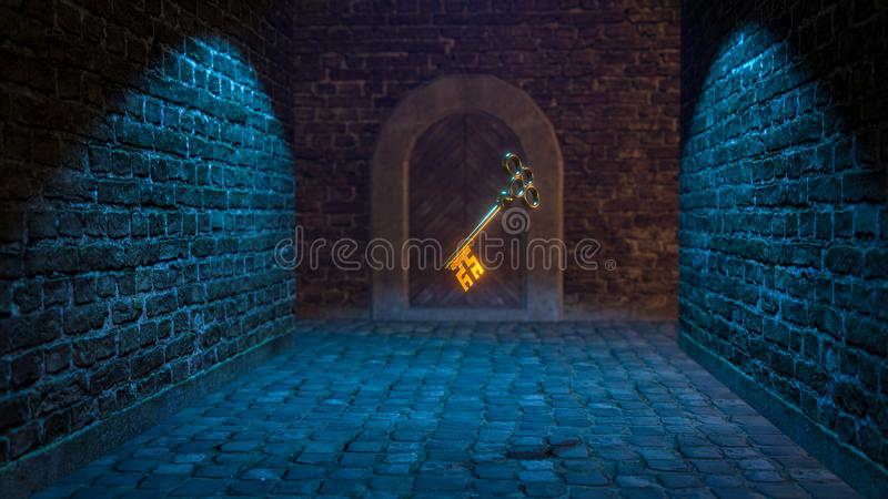 ejemplo medieval mágico de la llave 3d stock de ilustración