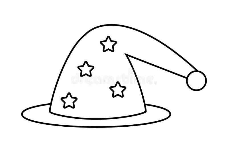 Ejemplo medieval y de la fantasía aislado del mago del sombrero del vector stock de ilustración