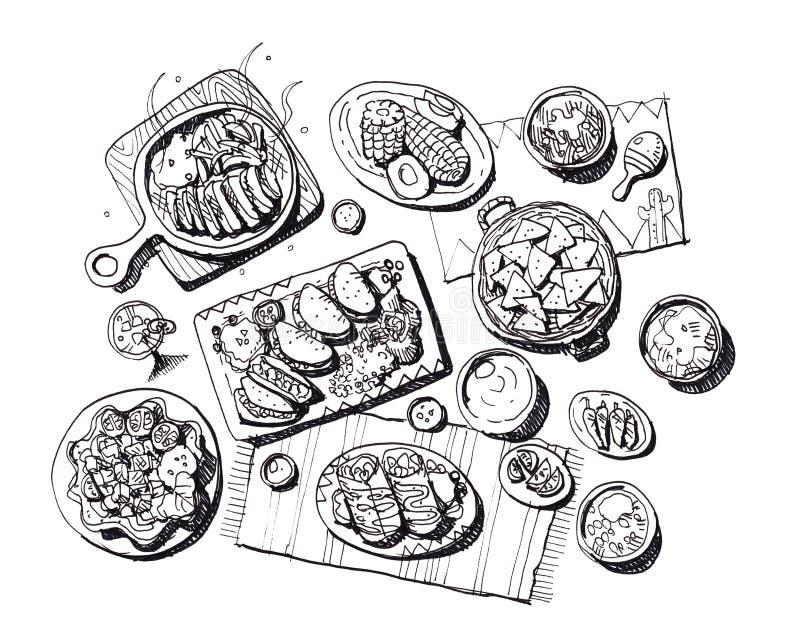 Ejemplo mexicano de la comida stock de ilustración